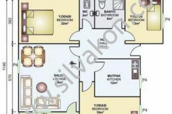 114 m² Tek Katlı Prefabrik Konut  01