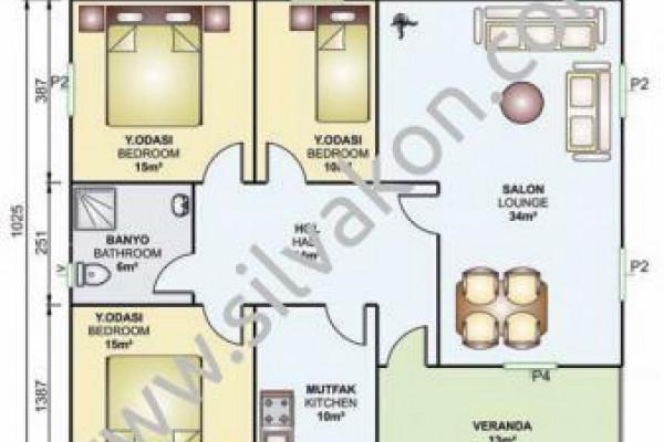 117 m² Tek Katlı Prefabrik Konut 02