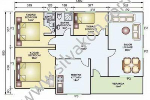 119 m² Tek Katlı Prefabrik Konut  01