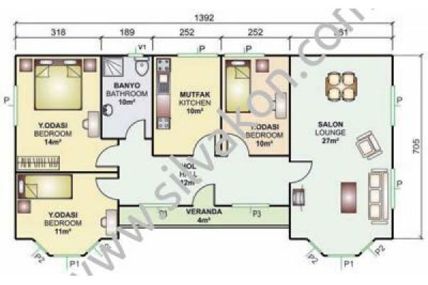 98 m² Tek Katlı Prefabrik Konut  02