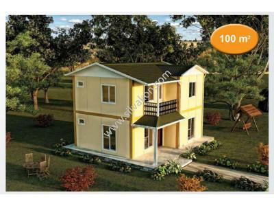 100m² Prefabrik Çift Katlı Ev