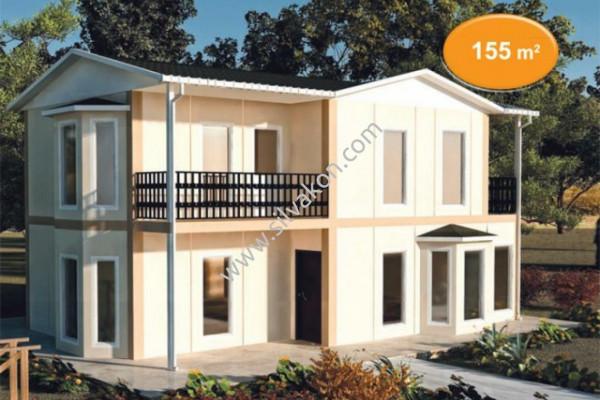 155 m² Çift Katlı Prefabrik Ev 01
