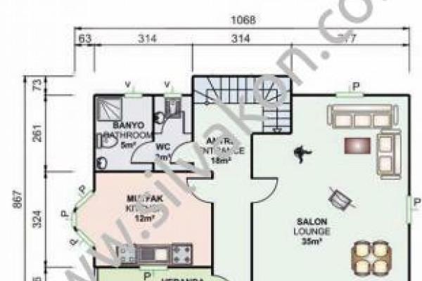 155 m² Çift Katlı Prefabrik Ev 02