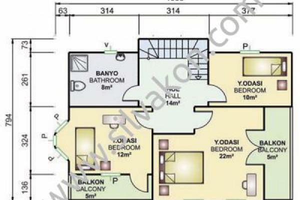 155 m² Çift Katlı Prefabrik Ev 03