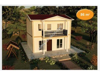 86 m² Çift Katlı Prefabrik Ev