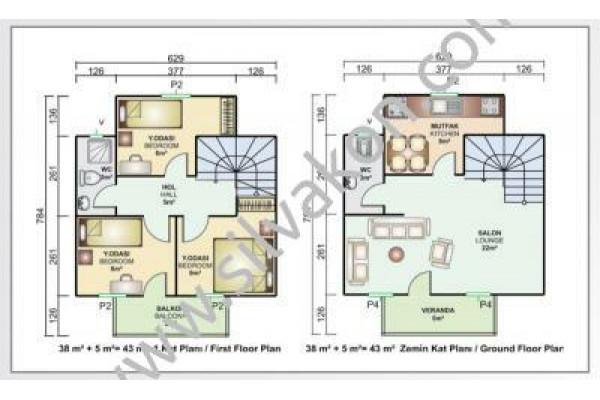 86 m² Çift Katlı Prefabrik Ev 02