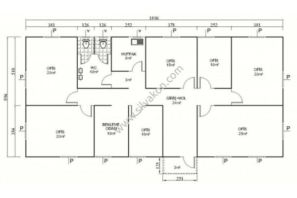 172 m2 Prefabrik Ofis 03