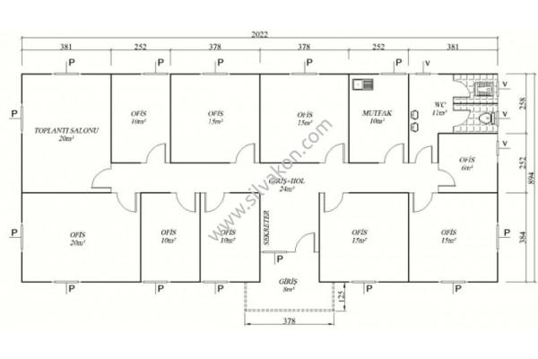 183 m2 Prefabrik Ofisler 02