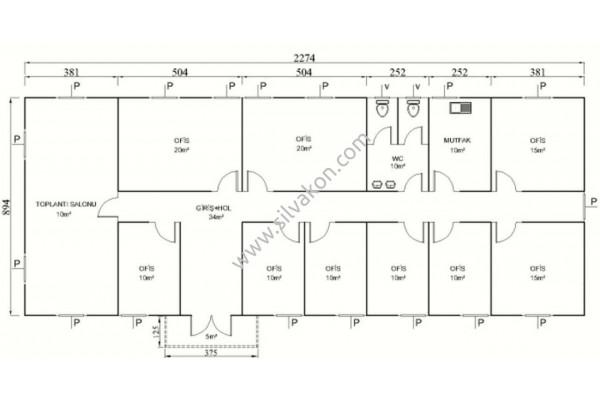208 m2 Prefabrik ofis 02