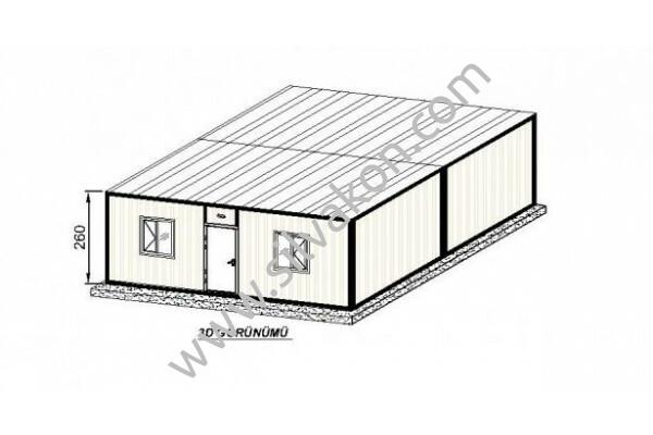 6X7 TEK ODA Prefabrik Şantiye Binası 02