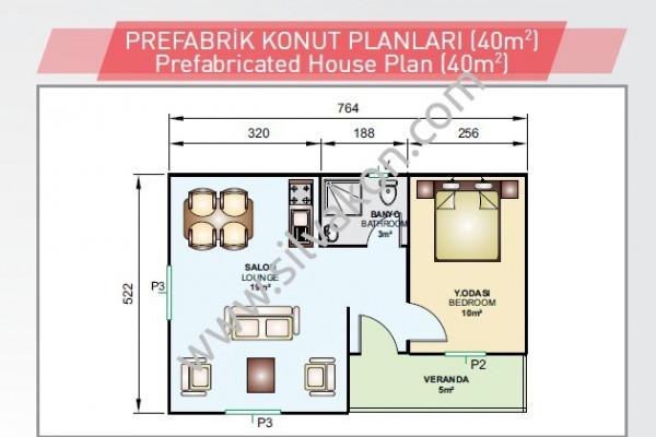 40 m2 Tek Katlı Prefabrik Konut 01